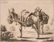 Monogrammist C.D., Zwei beladene Esel, rastend. 18. Jh. Monogrammist C.D. 18. Jh.Radierung auf