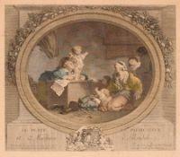 """Nicolas de Launay (nach Fragonard) """"L'heureuse Fécondité"""" / """"Le Petit Predicateur"""". 2. H. 18. Jh."""