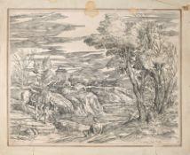 Valentin Lefebre, Landschaft mit einem Pagen, ein Pferd zu einem See führend. 1682. Valentin Lefebre