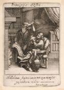 """Wenzel Hollar """"Der Kranke"""". Mitte 17. Jh. Wenzel Hollar 1607 Prag – 1677 LondonKupferstich auf"""