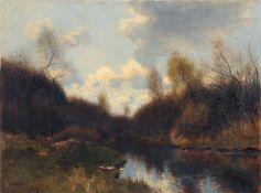 Johannes Cornelis van Essen, Herbstliche Flusslandschaft. Wohl 1880er Jahre. Johannes Cornelis van