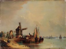 Johann Anton Castell, Flusslandschaft mit Windmühle. 1853. Johann Anton Castell 1810 Dresden –