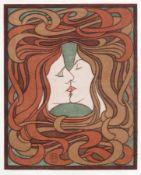 """Peter Behrens """"Der Kuss"""". Um 1900. Peter Behrens 1868 Hamburg – 1940 BerlinFarbholzschnitt auf"""