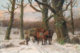 Caesar Bimmermann, Abendliche Winterlandschaft mit Holzfuhrwerk. 1879. Caesar Bimmermann 1821