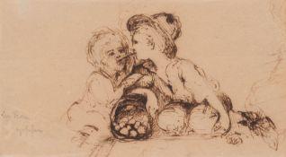 Unbekannter Zeichner, Zwei hockende Knaben, Wohl Spätes 18. Jh. Federzeichnung in brauner Tusche auf
