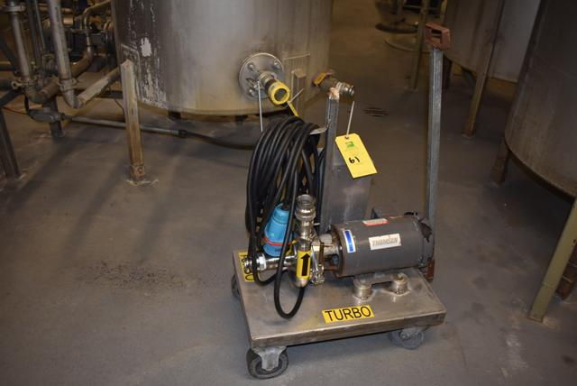 Lot 61 - Portable Thomsen #62322 Pump & 2 HP Motor w/Extension Cord, Mounted on 4-Wheel Cart, RIGGING FEE $25