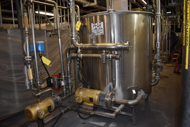 "Lot 36 - Stainless Steel Tank w/Lid, 60"" Diameter x 60"" Depth, Includes Baldor 10 HP Motor & Circulation"
