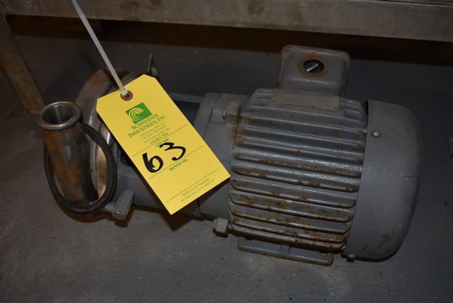 Lot 63 - Pump & Motor, RIGGING FEE $25