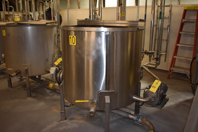 "Lot 24 - Stainless Steel Tank w/Lid, 42"" Diameter x 36"" Depth, Motor & Circulating Pump, Tank Sensor, SS"