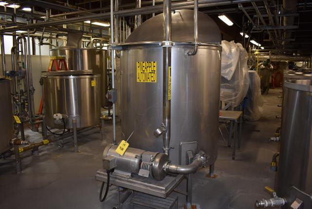 "Lot 38 - Stainless Steel Tank w/Lid, 48"" Diameter x 52"" Depth, Includes 7 1/2 HP SS Motor & Circulation Pump,"