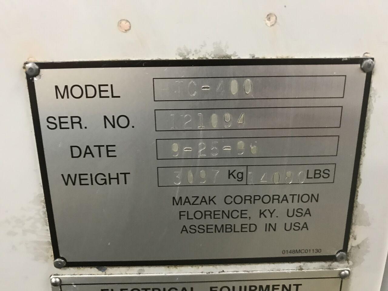 Lot 10 - Mazak HTC-400, Serial # = 121094, Volts = 230/480, Date = 9-25-96, (Jorgensan Conveyor Attached)