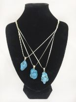 Lot 2 - X3 sleeping beauty turquoise sterling silver pendants/necklaces