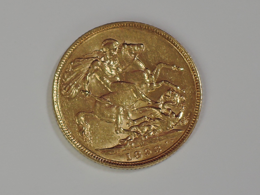Lot 655 - A gold 1893 Great Britain Victoria Jubilee head Sovereign coin, in plastic case, Melbourne Mint