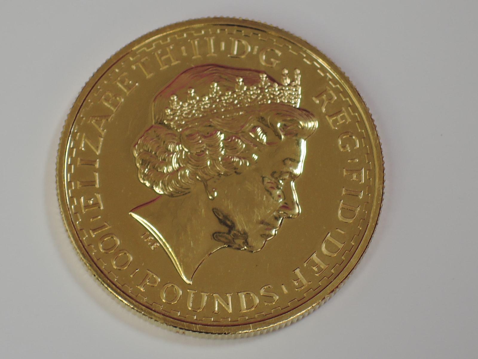 Lot 639 - A gold 1oz 2009 Great Britain Britannina 100 pound coin, in plastic case