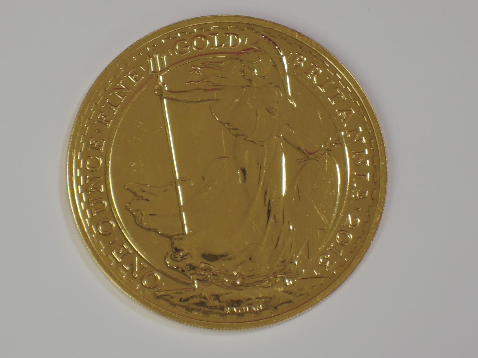 Lot 647 - A gold 1oz 2013 Great Britain Britannia 100 pound coin, in plastic case