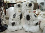 Lot 11 - A pair of vintage Staffordshire flat back dogs