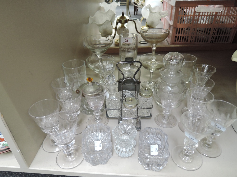 Lot 26 - A selection of vintage clear cut and crystal glass wares