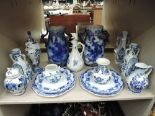 Lot 44 - A selection of vintage blue and white ware ceramics including Delft