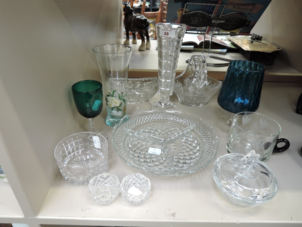 Lot 58 - A selection of vintage clear cut and colour glass wares