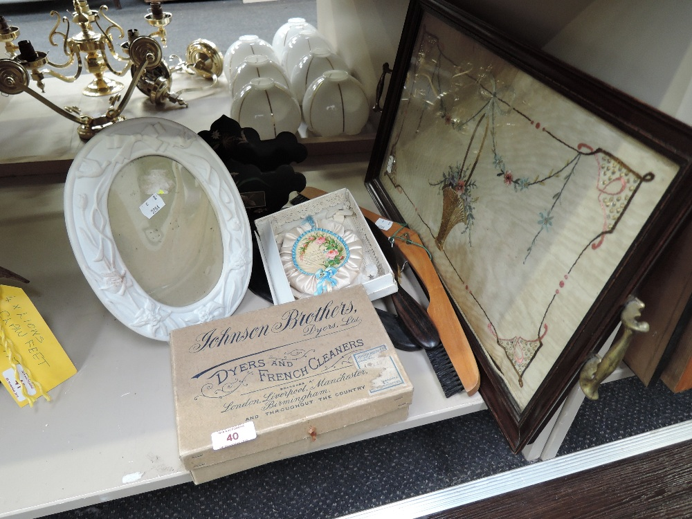 Lot 40 - A selection of vintage curios and trinkets including embroidered silk panel