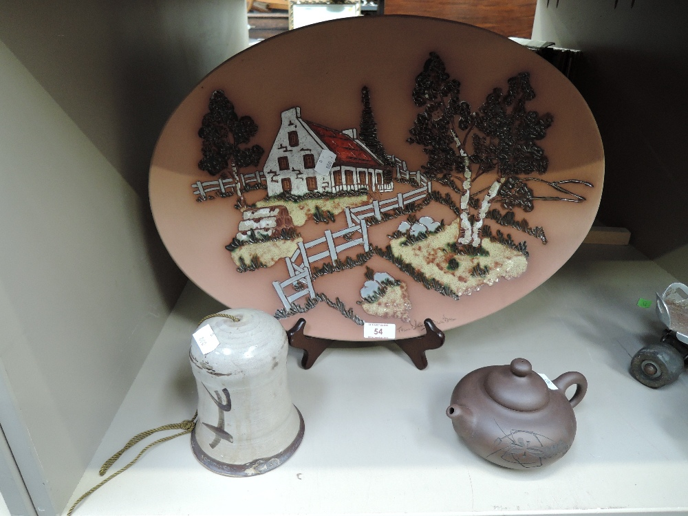 Lot 54 - A selection of vintage ceramics including terracotta display plate