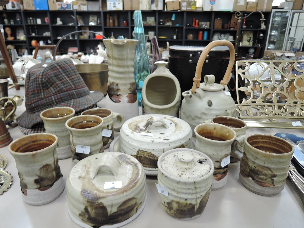 Lot 37 - A selection of vintage earthen ware kitchen ceramics with green salt glaze