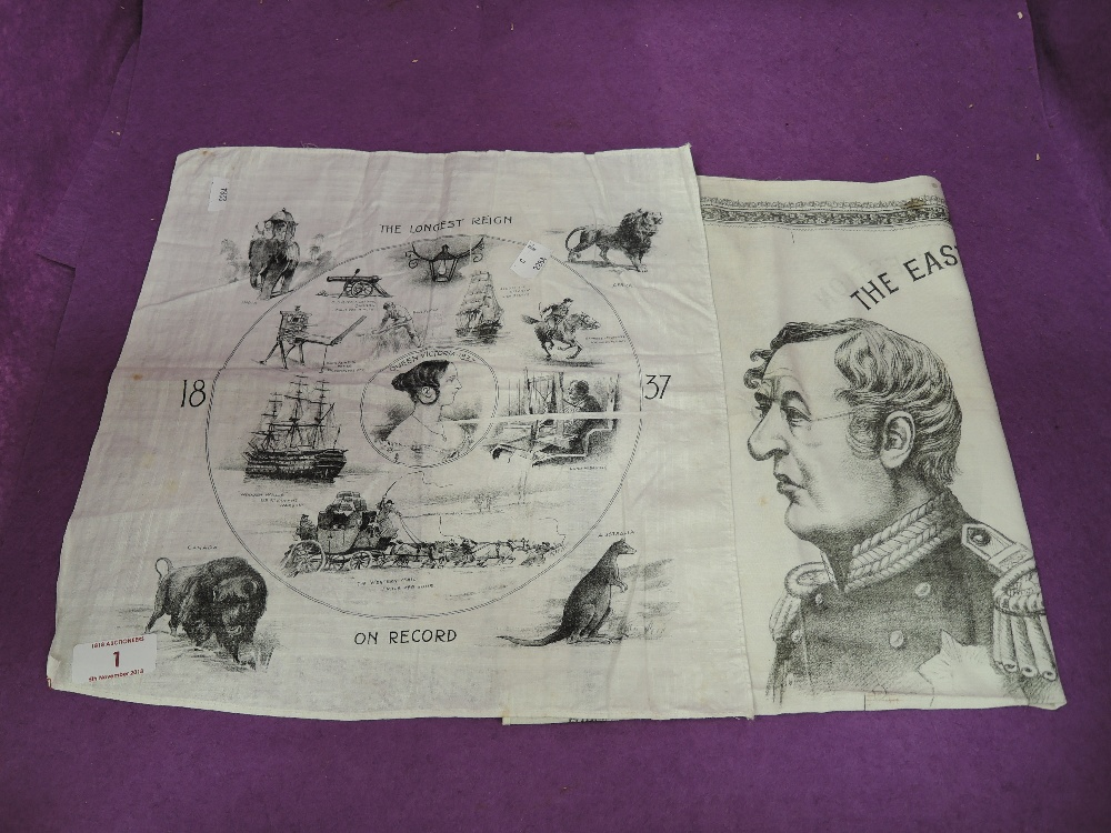 Lot 1 - Two antique commemorative napkin souvenirs Queen Victoria 1837 and The Eastern Question 1878