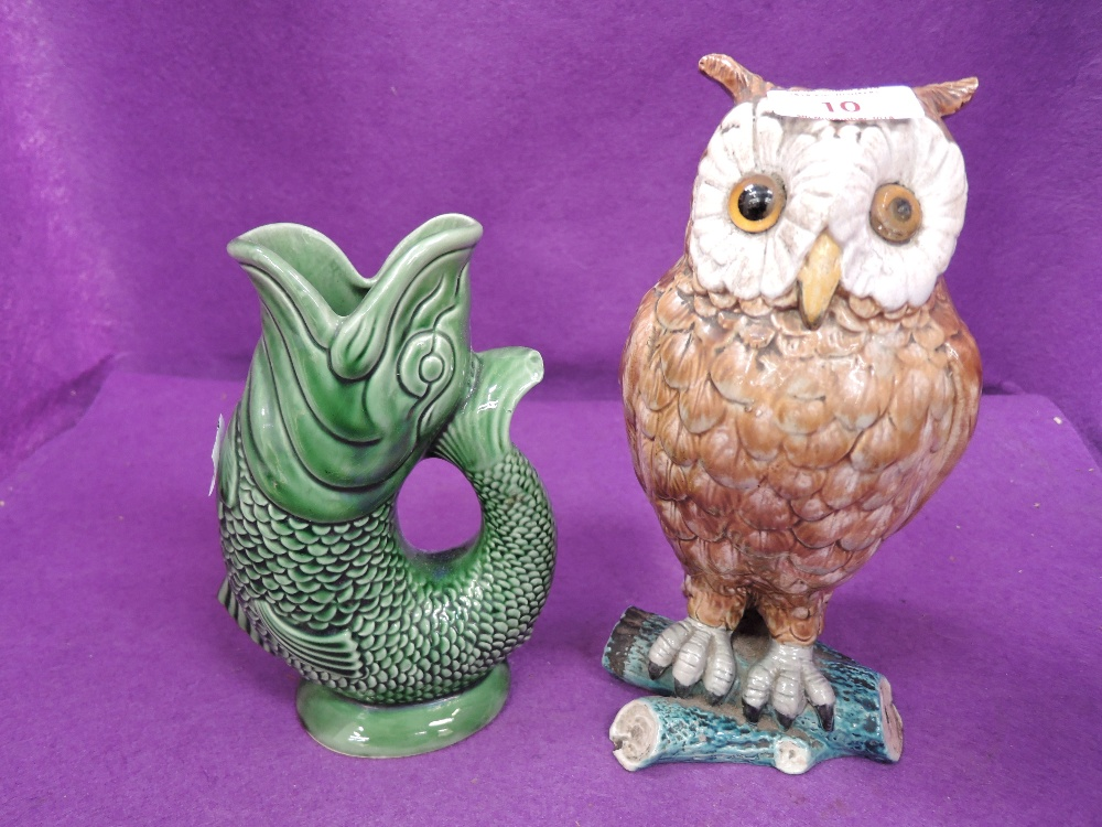 Lot 10 - A vintage ceramic owl figure in a majolica style etc
