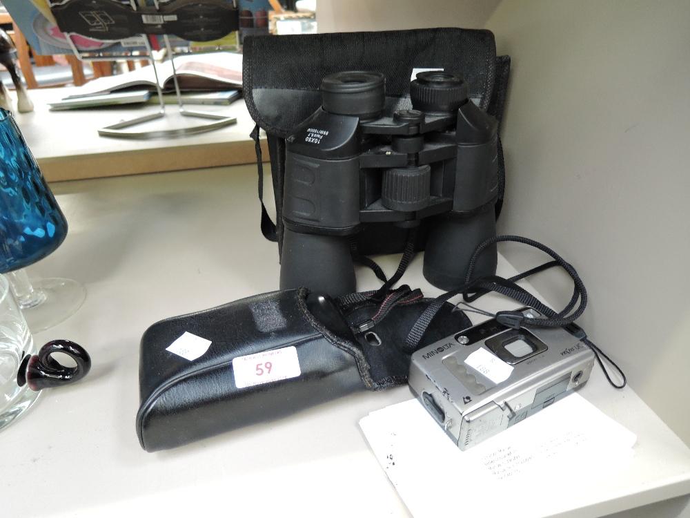 Lot 59 - A vintage Minolta camera and pair of field binoculars