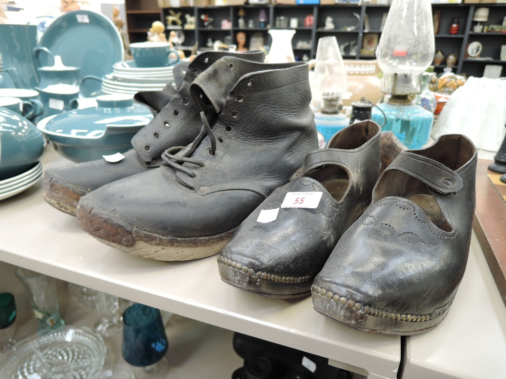 Lot 55 - Two vintage leather and wood clogs men's and ladies