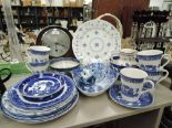 Lot 27 - A selection of vintage blue and white ware ceramics including owl figure