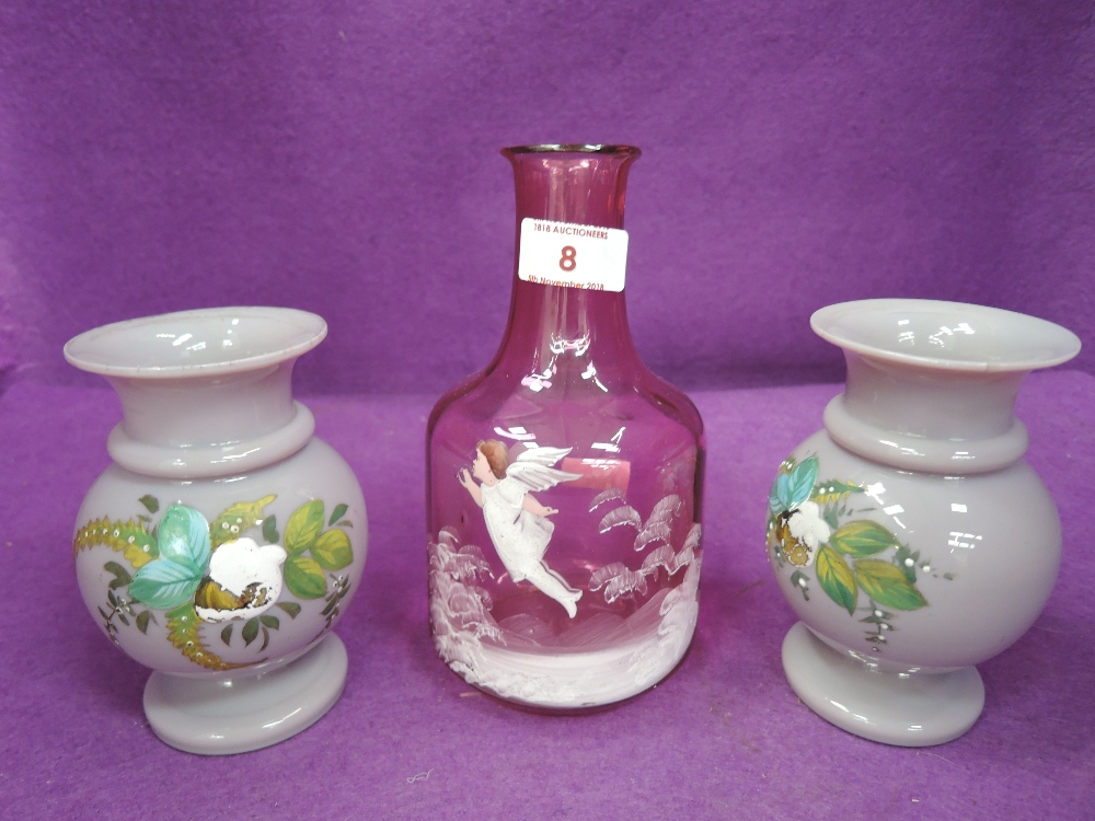Lot 8 - A selection of vintage hand painted colour glassware purple vase pair and Cherub decorated pink