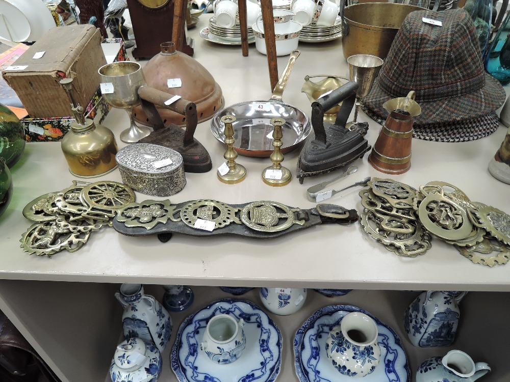 Lot 43 - A selection of vintage hardware items including copper sauce pan and stove irons