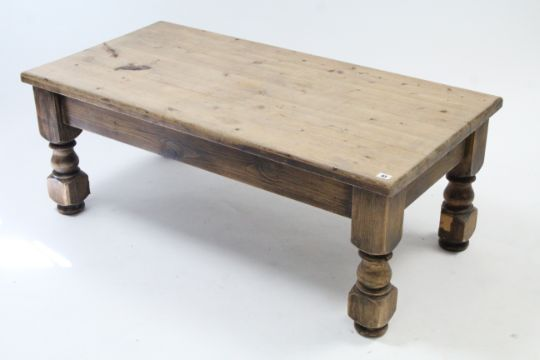 A Pine Rectangular Low Coffee Table On Short Turned Legs 48 Wide An Oak