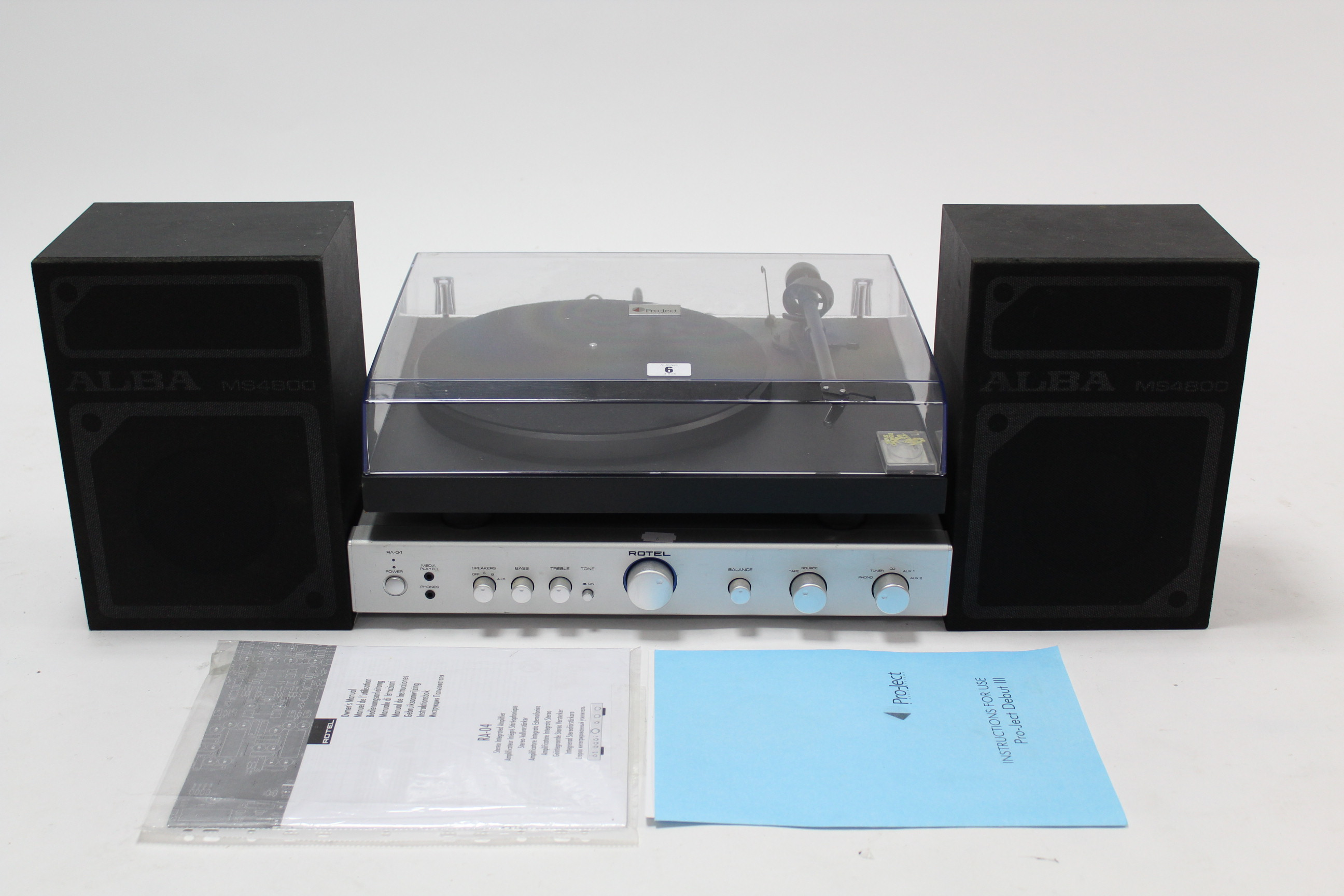 Lot 6 - A Pro-ject turntable; a Rotel amplifier; & a pair of Alba hi-fi speakers, all w.o.