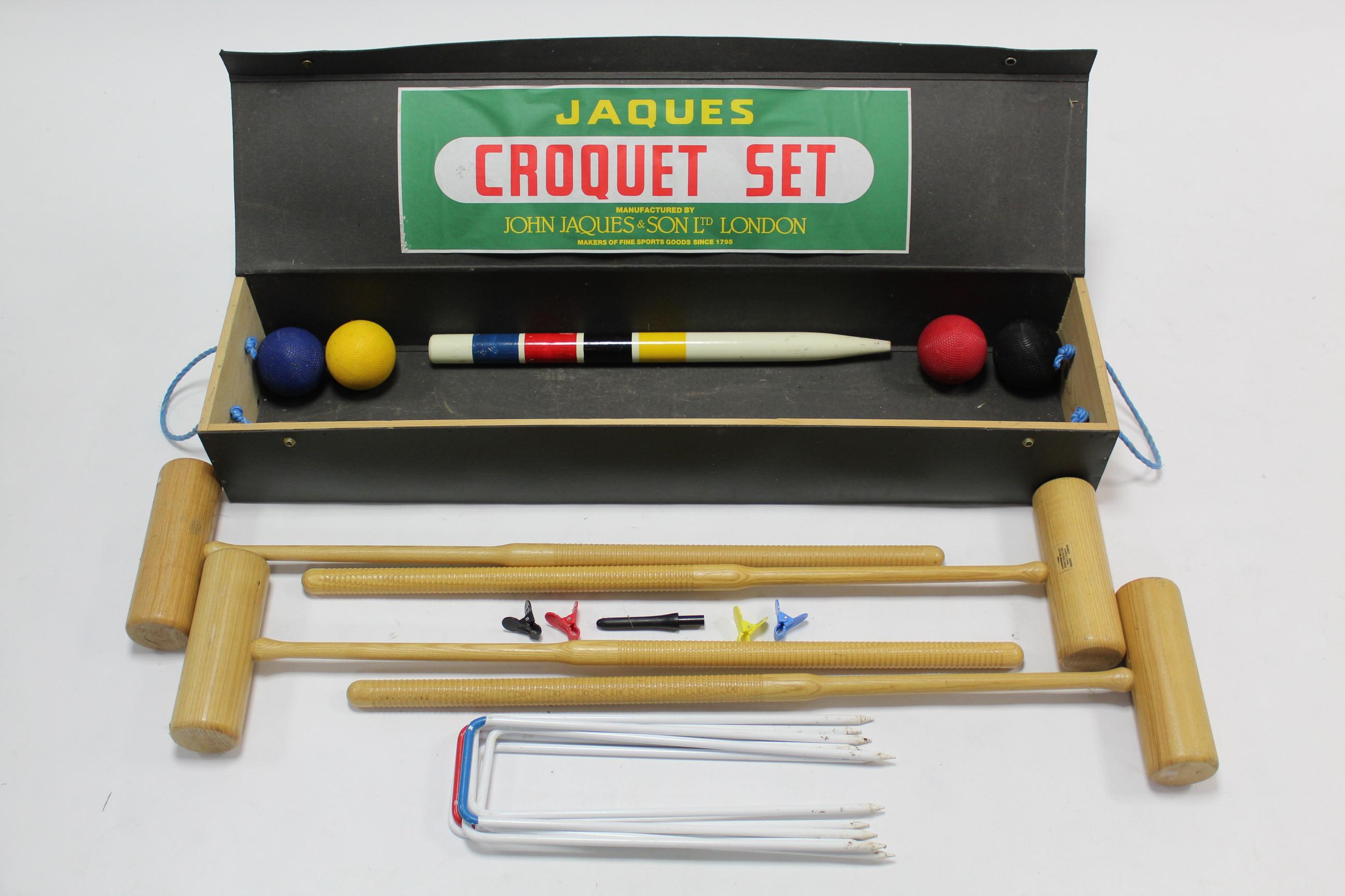 Lot 29 - A John Jaques & Son of London croquet set, with case.
