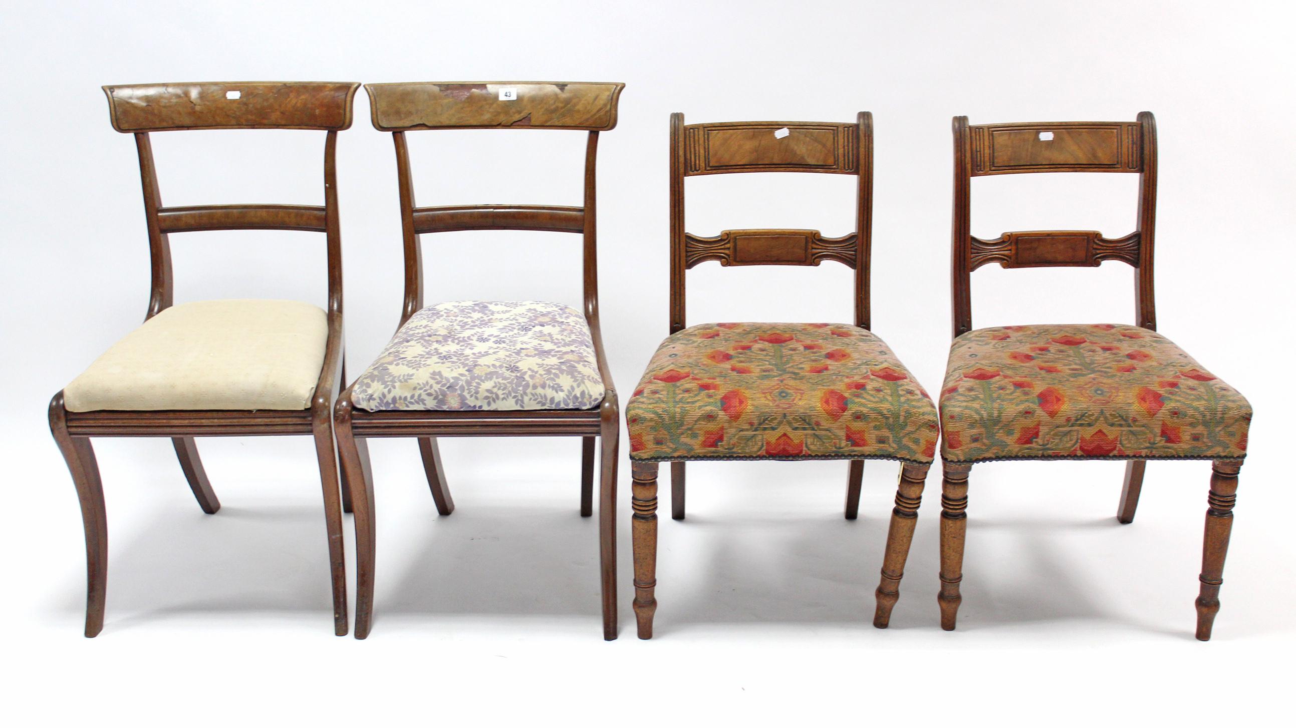 Lot 43 - Two pairs of 19th century mahogany bow-back dining chairs; & a similar bow-back dining chair, part