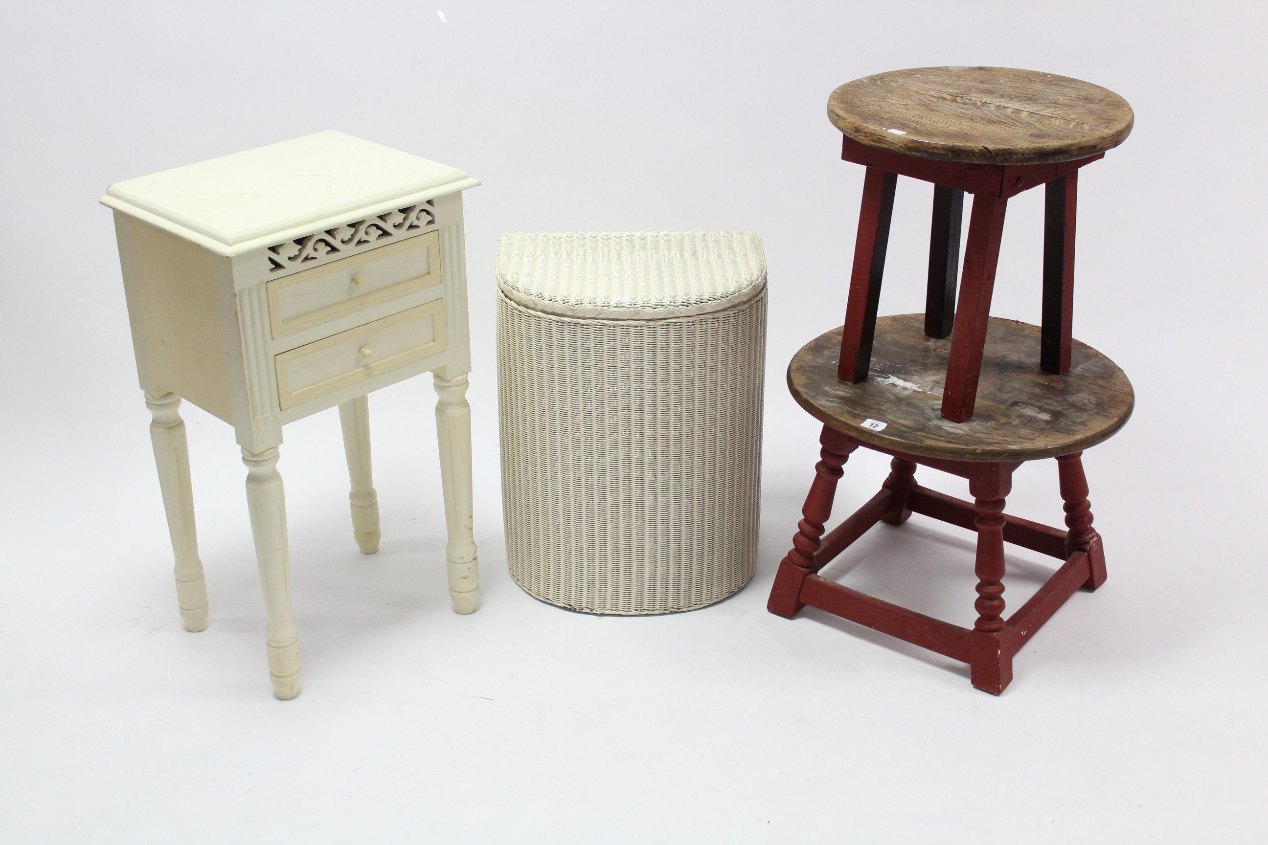 Lot 12 - A white painted loom linen box; two occasional tables; & a white-finish bedside cabinet.