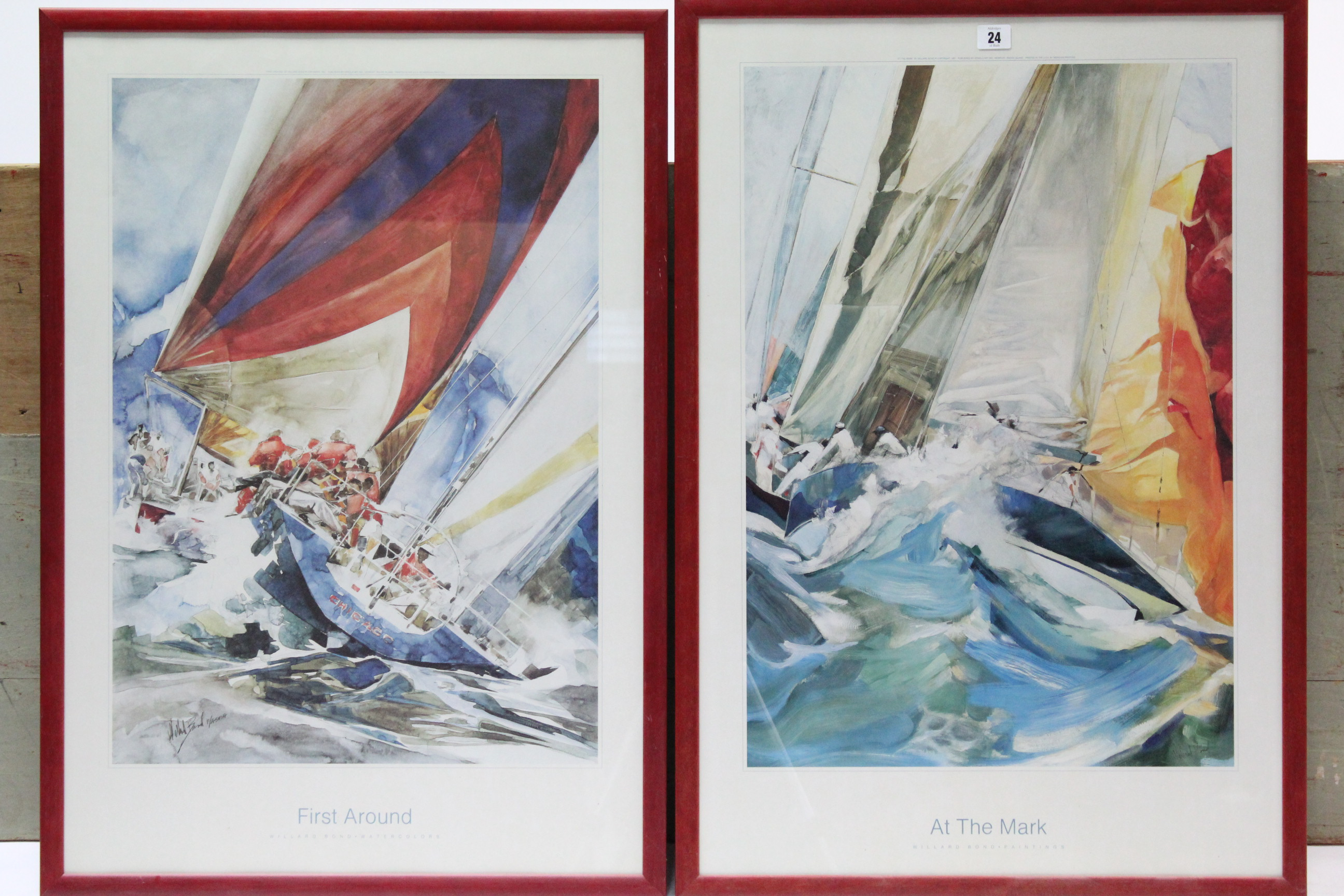 """Lot 24 - A pair of coloured sailing prints after Willard Bond titled """"At the Mark"""" & """"First Around"""", 31¾"""" x"""