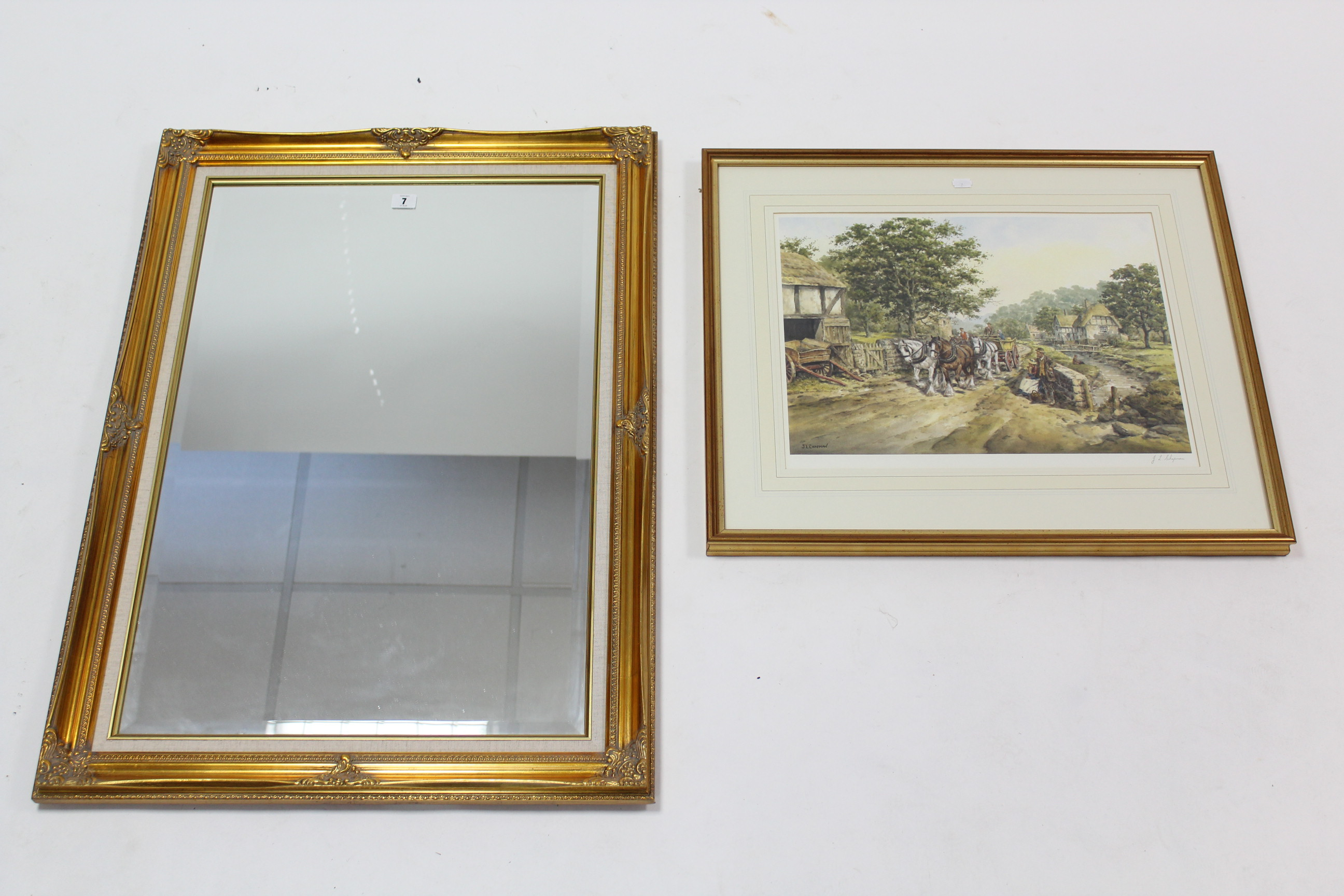 "Lot 7 - A large gilt frame rectangular wall mirror inset bevelled plate, 36"" x 25½""; & a large artist's"