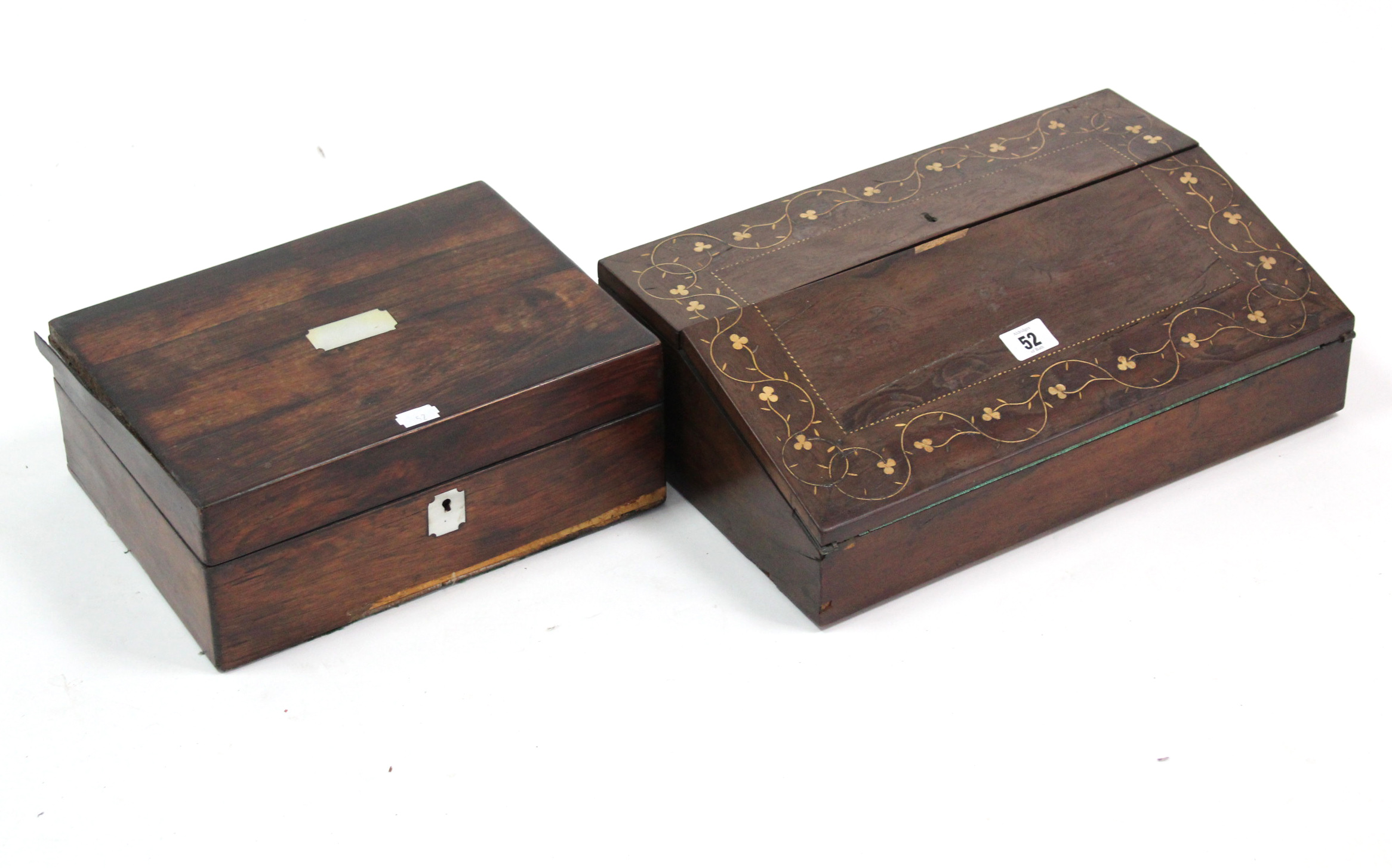 """Lot 52 - A 19th century inlaid-mahogany writing slope, 15½"""" wide; & a rosewood trinket box (lacking"""