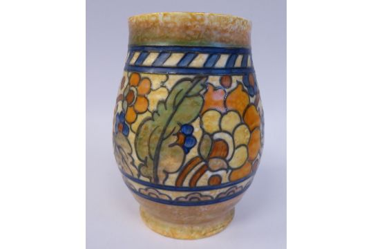 A Charlotte Rhead Crown Ducal Pottery Vase Of Ovoid Form Decorated