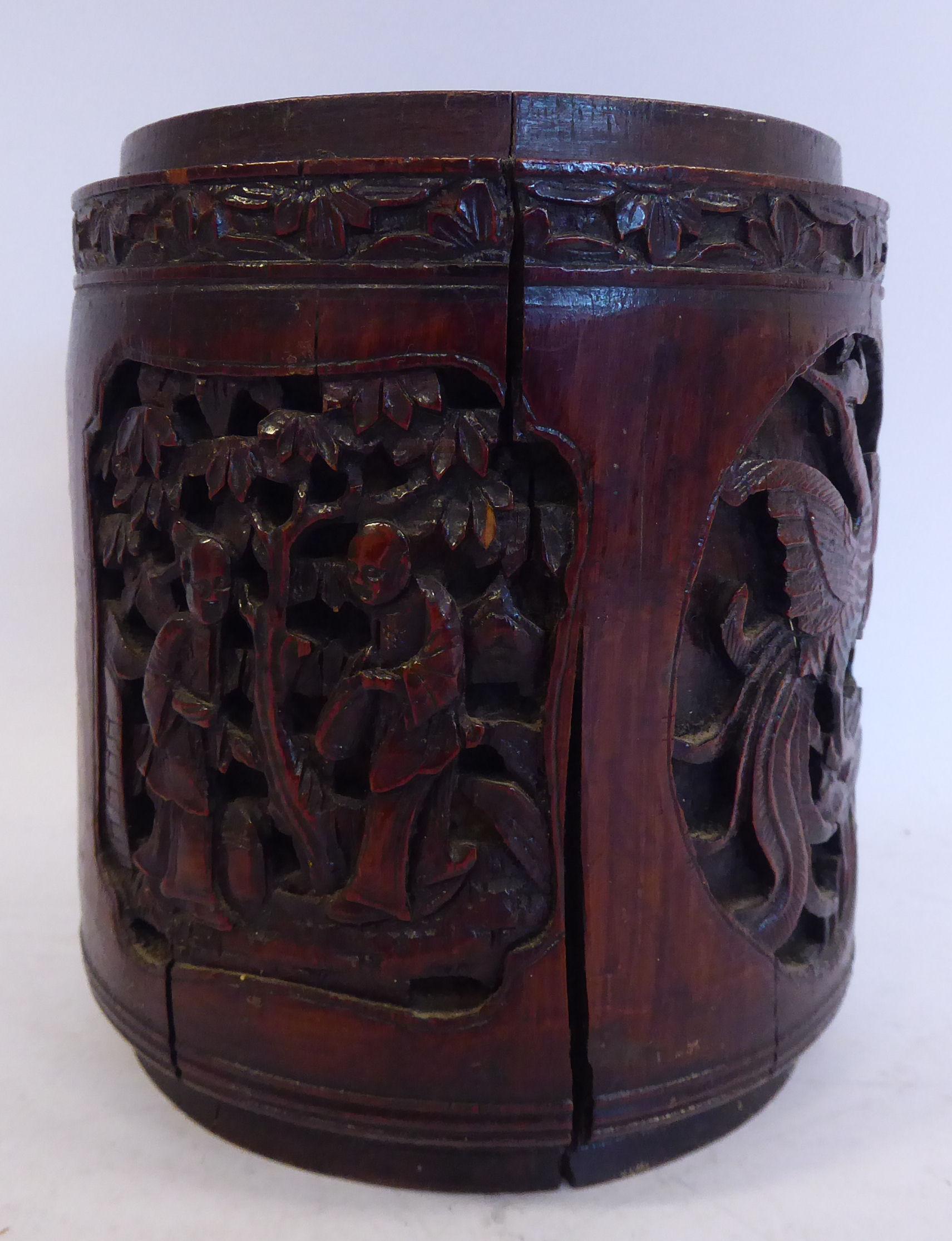Lot 8 - A late 19thC Chinese bamboo brush pot,