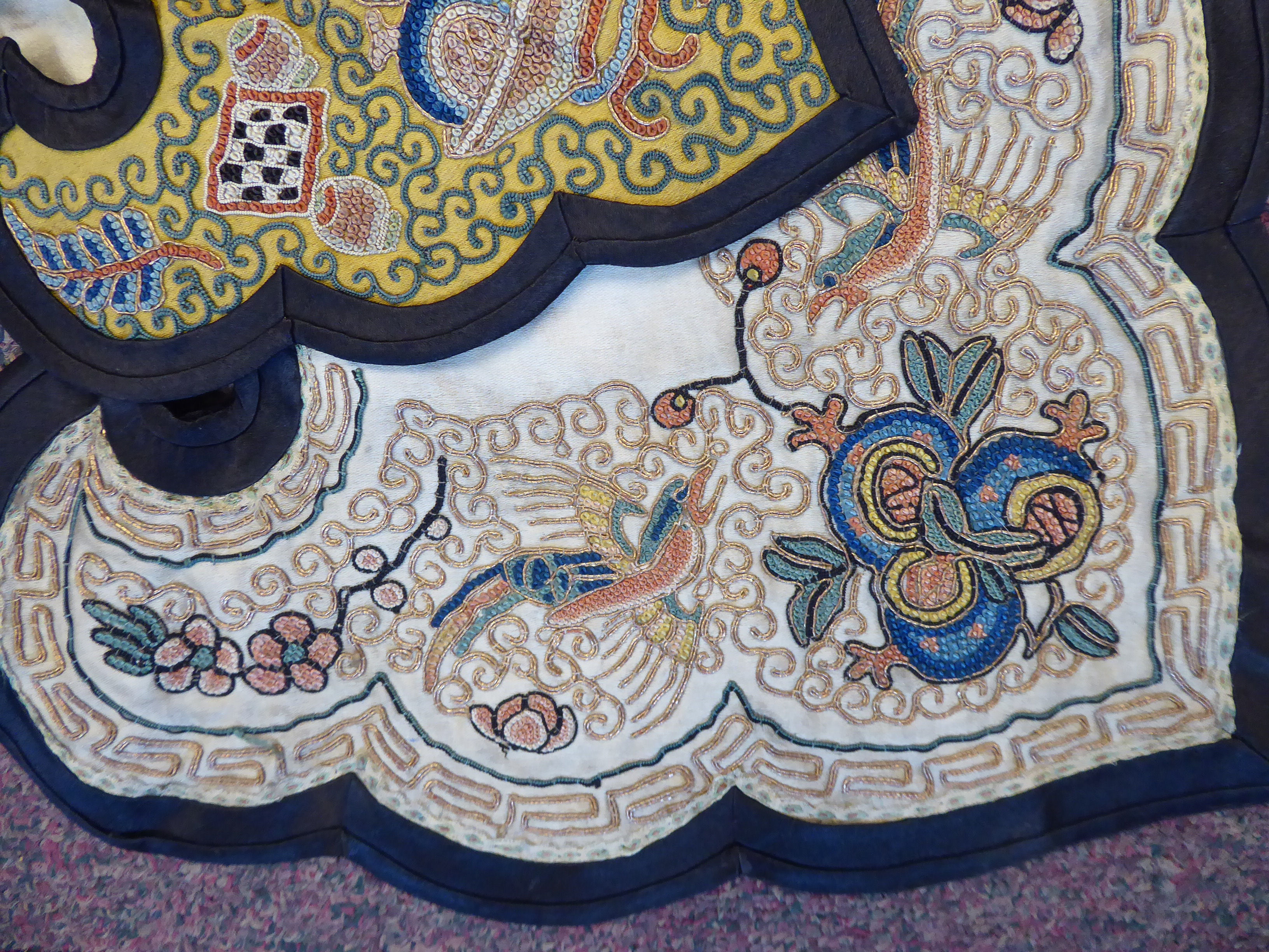 Lot 32 - An 'antique' Chinese embroidered silk collar,