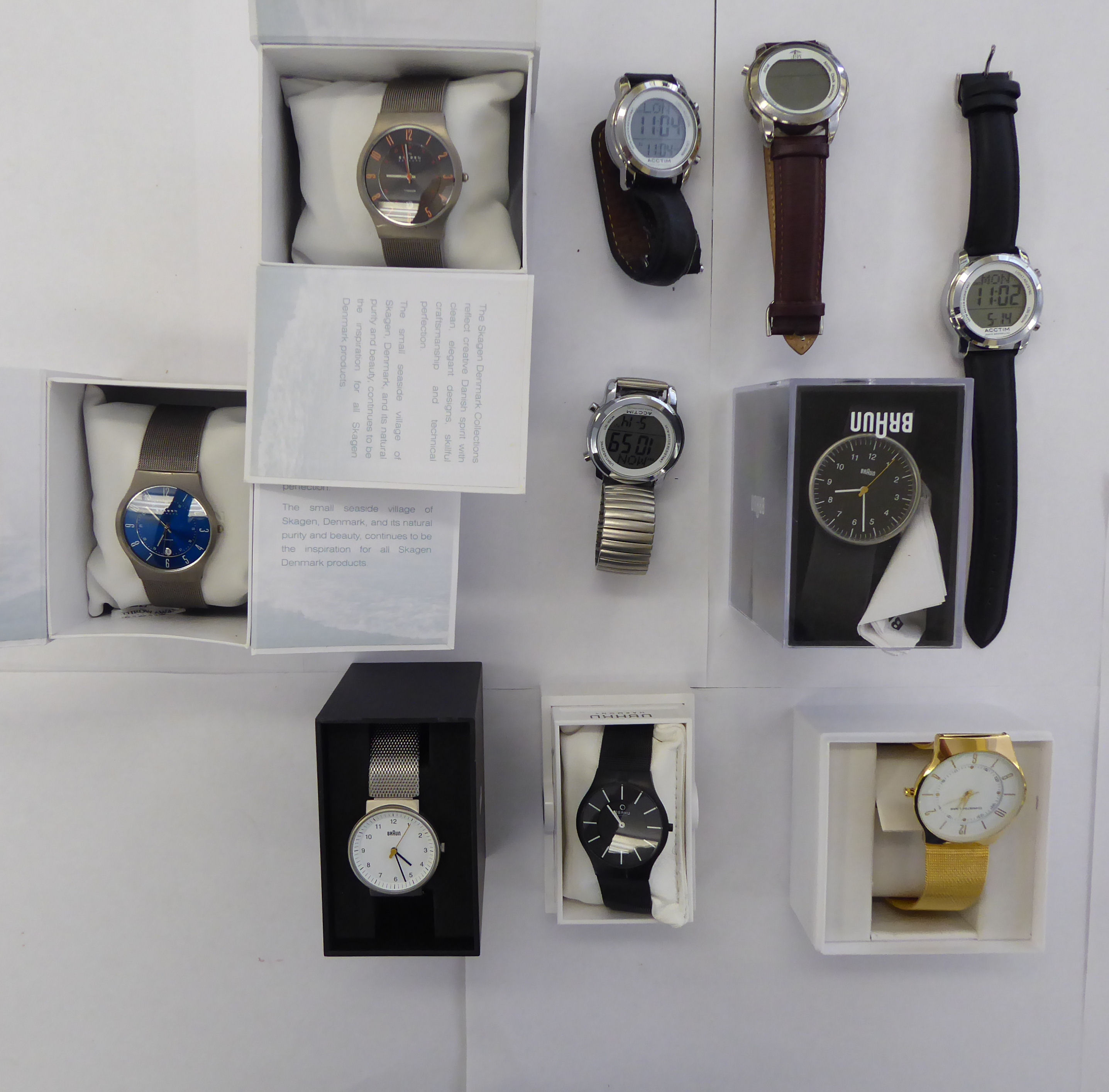 Lot 1 - Gentlemen's stainless steel and other wristwatches: to include an Acctim example,