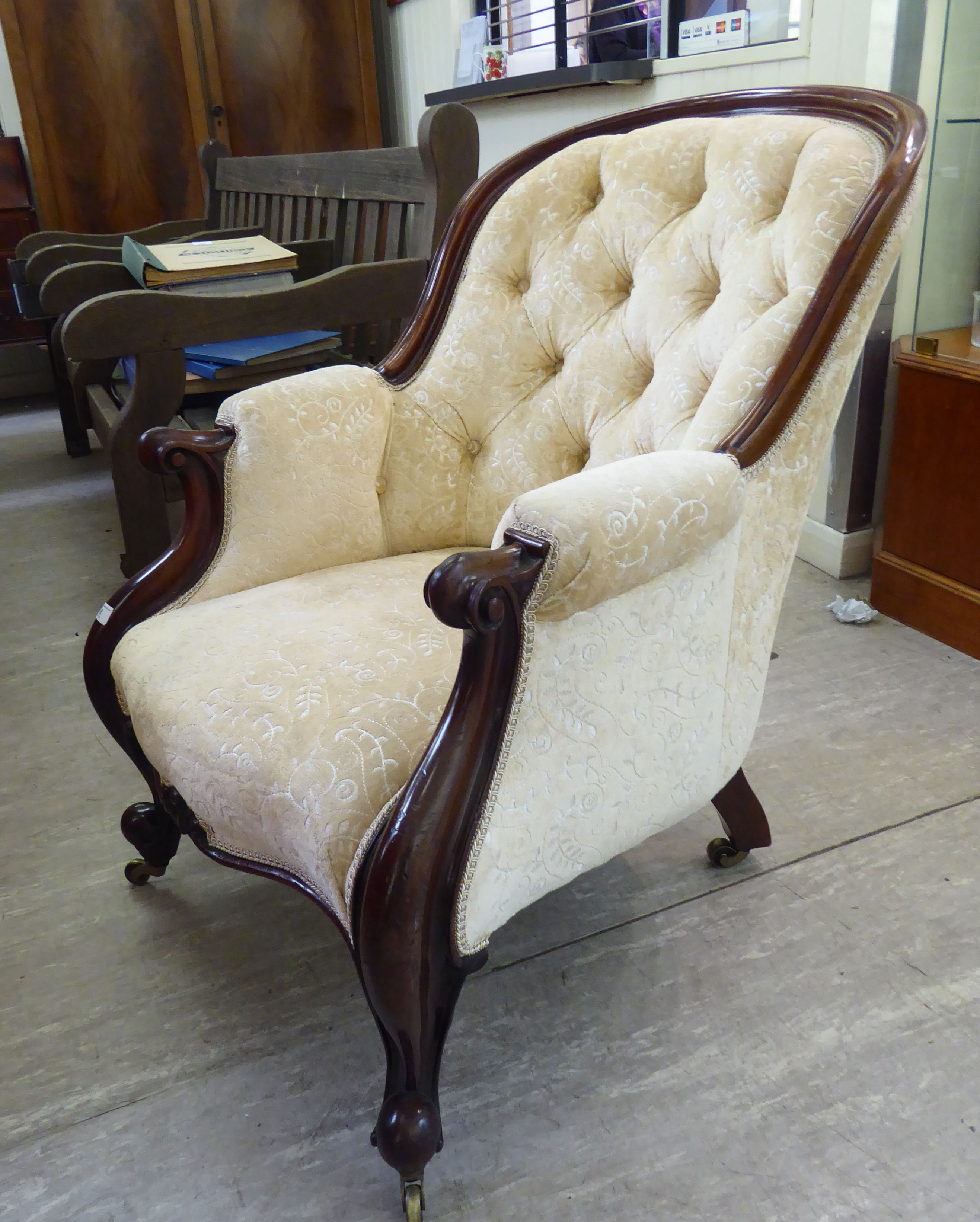 Lot 8 - A mid Victorian moulded mahogany showwood framed, high,