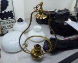 Lot 61 - A brass oil lamp design pendant light fitting; an opaque white glass shade;