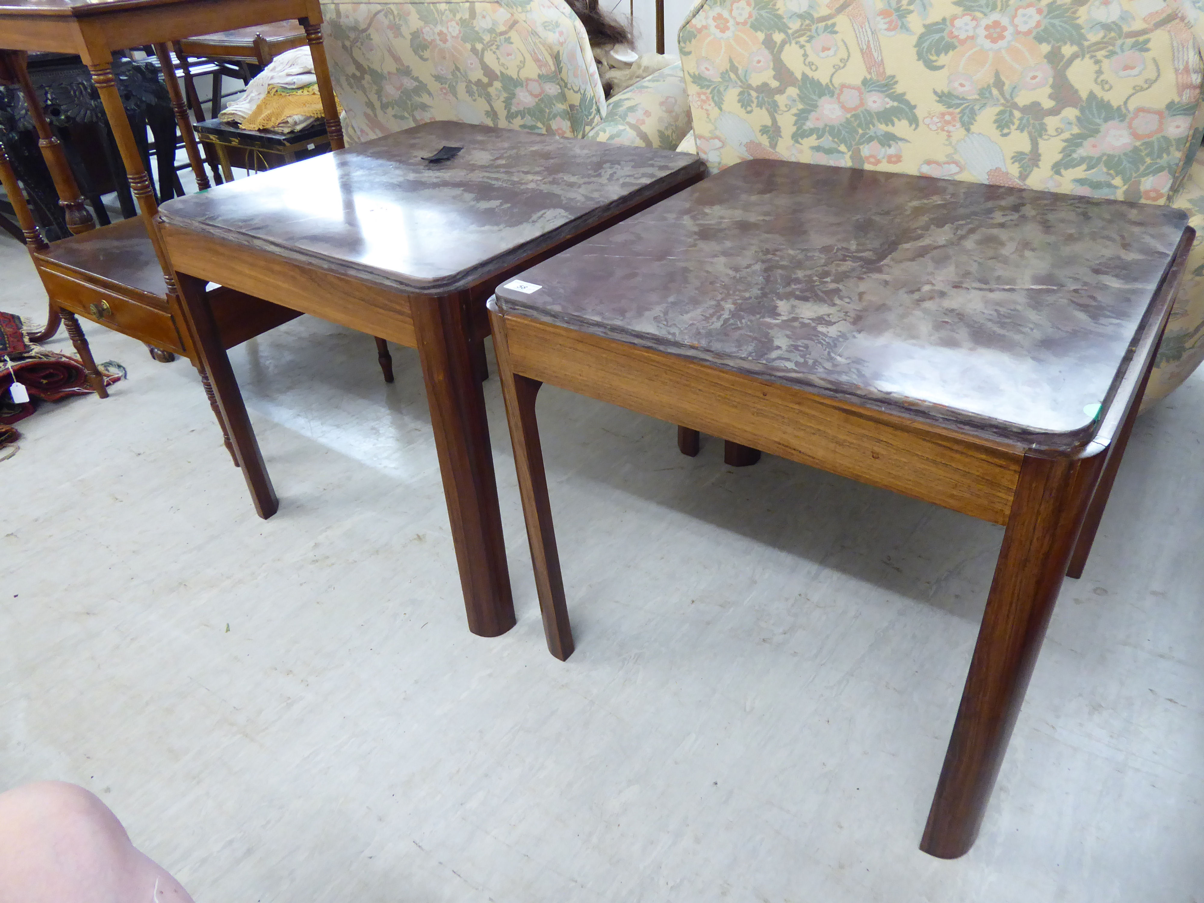 Lot 58 - A pair of 1970s exotic hardwood lamp tables,