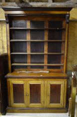 Lot 41 - A Victorian stained pine and mahogany open library bookcase
