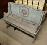 Lot 50 - An old Continental blue painted pine window seat 104cm wide x 83cm high x 35cm deep